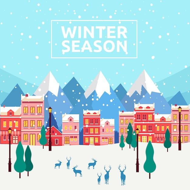 Winter seizoen achtergrond Premium Vector