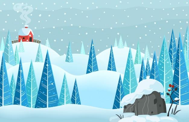 Winter sneeuw horisontal boslandschap met huis op de heuvel Premium Vector