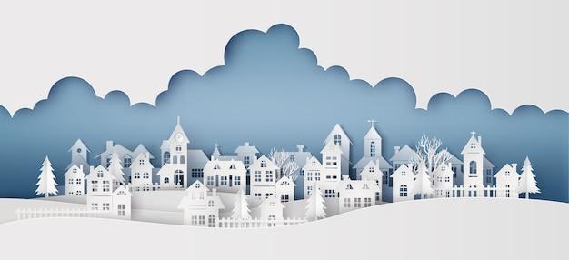 Winter sneeuw stedelijk platteland landschap stad dorp met volle maan Premium Vector