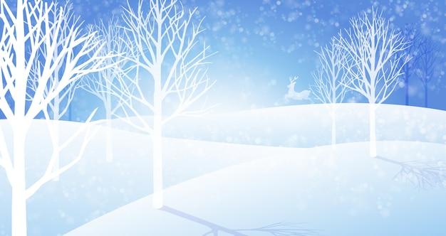 Winter sneeuwval landschap-achtergrond Premium Vector