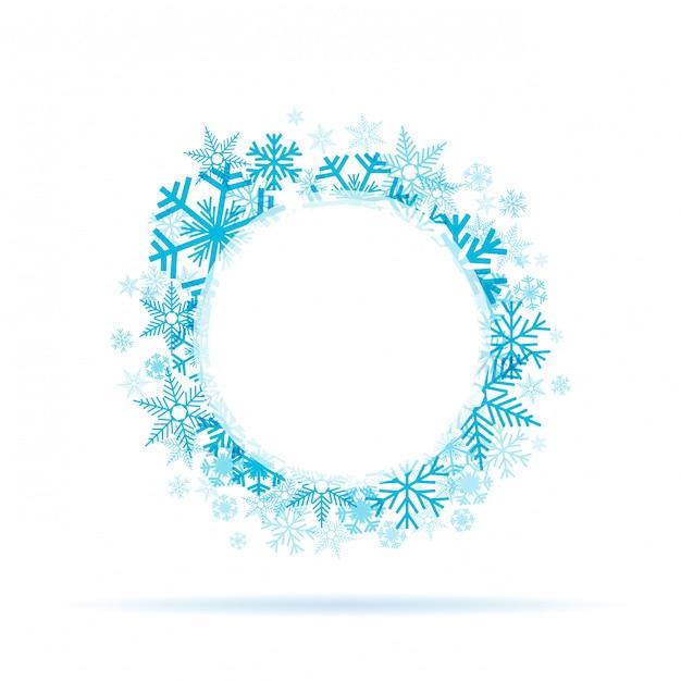 Winter sneeuwvlokken krans Premium Vector