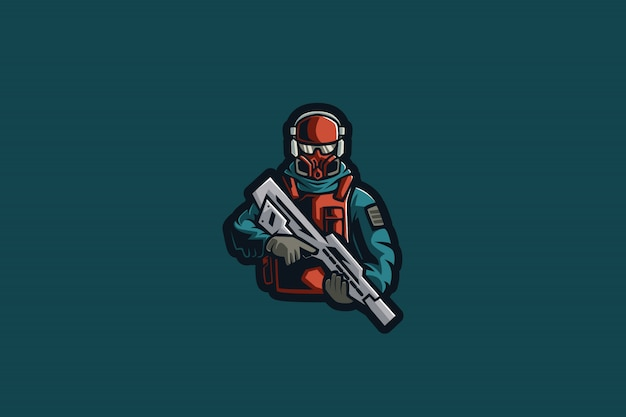 Winter soldier e sports-logo Premium Vector