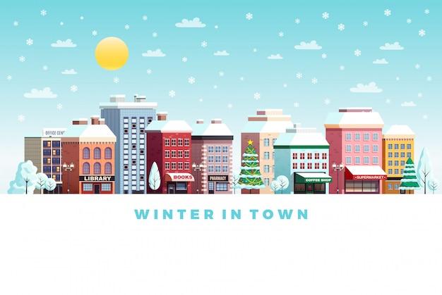 Winter stad landschap illustratie Gratis Vector