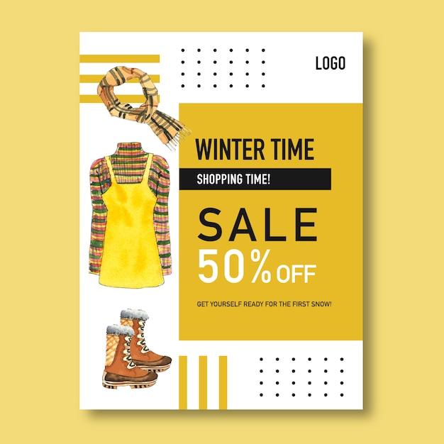 Winter stijl posterontwerp met jurk, sjaal, laarzen aquarel illustratie Gratis Vector