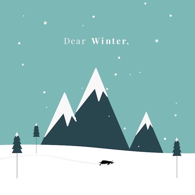 Winter thema briefkaart ontwerp vector Gratis Vector