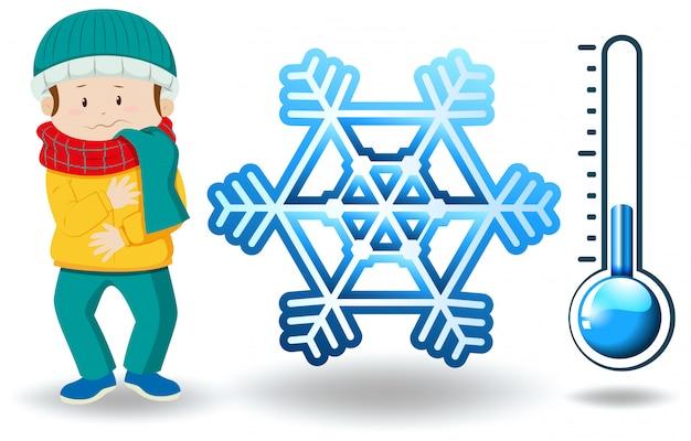 Winter thema met man in winterkleren Gratis Vector