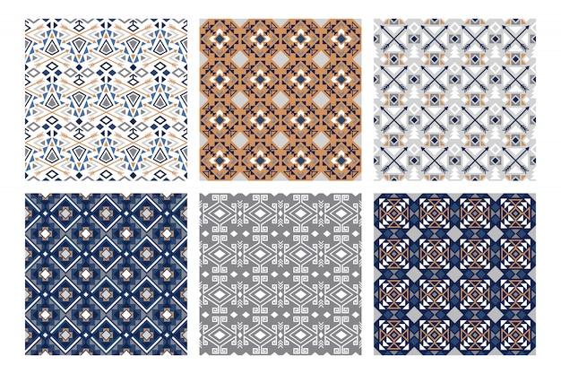 Winter tribale patronen. sneeuwmanier, mooie indische witte en blauwe naadloze patroonreeks, vectorillustratie Premium Vector