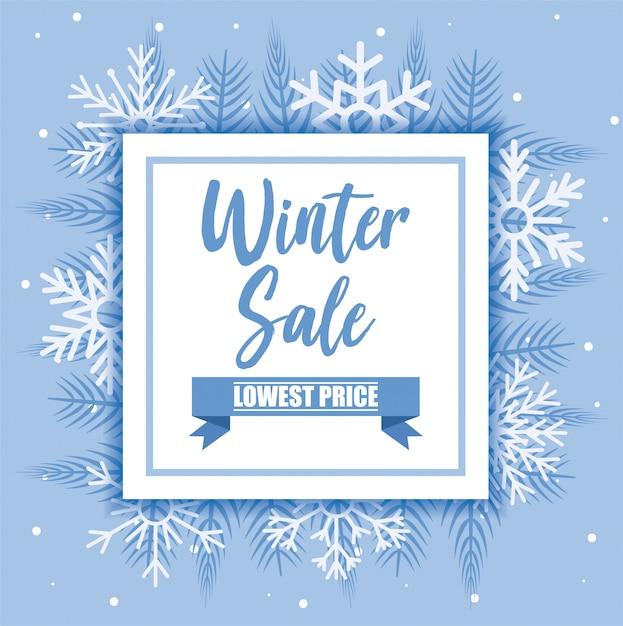 Winter verkoop banner met sneeuwvlokken vector ontwerp Premium Vector