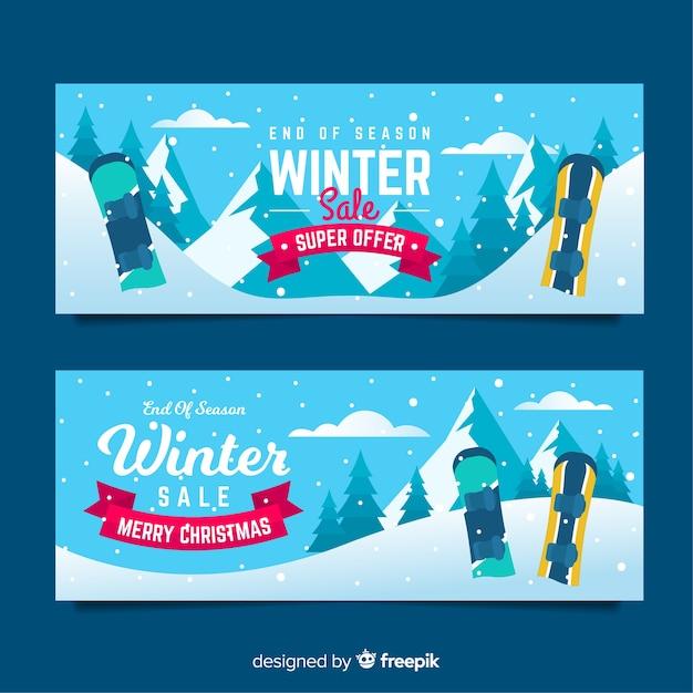 Winter verkoop banners Gratis Vector