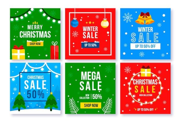 Winter verkoop instagram post collectie Gratis Vector