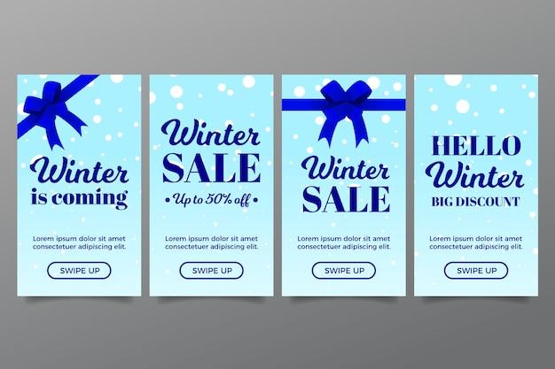 Winter verkoop instagram verhaal met linten Gratis Vector