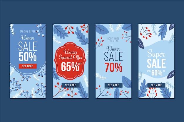 Winter verkoop instagram verhaalcollectie en maretak Gratis Vector