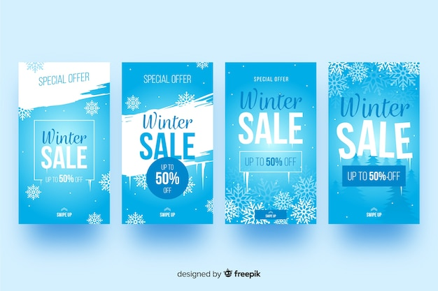 Winter verkoop instagram verhaalcollectie Gratis Vector