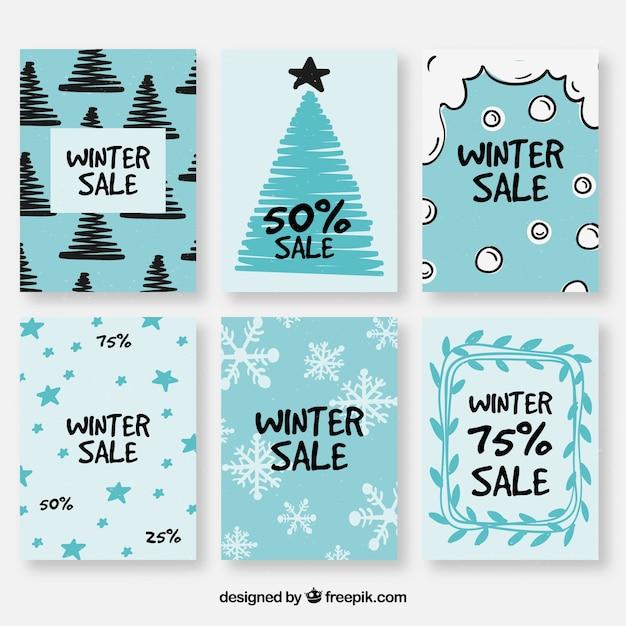 Winter verkoop kaarten Gratis Vector