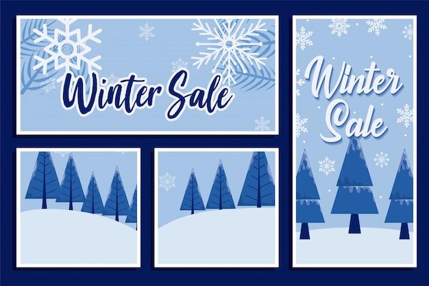 Winter verkoop met sneeuwvlokken en pijnbomen vector ontwerp Premium Vector