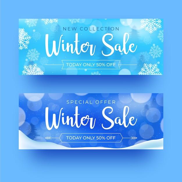 Winter verkoop realistische banners Gratis Vector