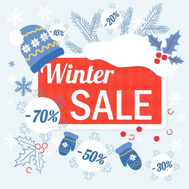 Winter verkoop sjabloon banner Premium Vector
