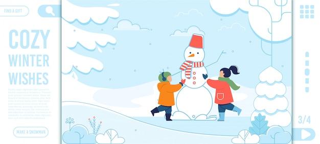 Winter wensen tekst en happy kids bestemmingspagina Premium Vector