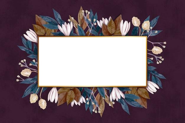 Winterbloemen met lege banner Gratis Vector
