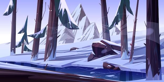 Winterbos met bevroren vijver. Gratis Vector