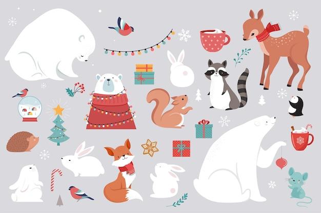 Winterbosdieren, merry christmas-wenskaarten, posters met schattige beer, vogels, konijn, hert, muis en pinguïn. Premium Vector