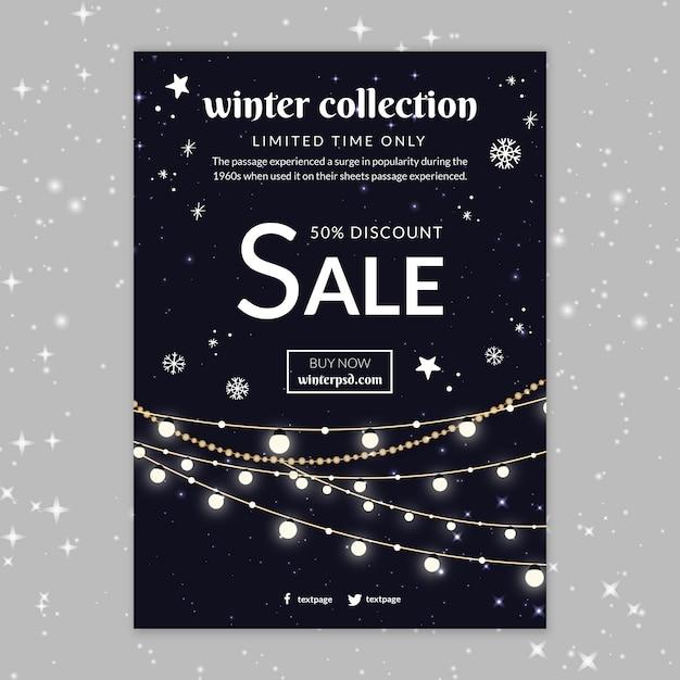 Wintercollectie verkoop poster sjabloon Gratis Vector