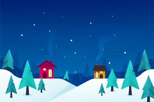 Winterconcept in plat ontwerp Gratis Vector