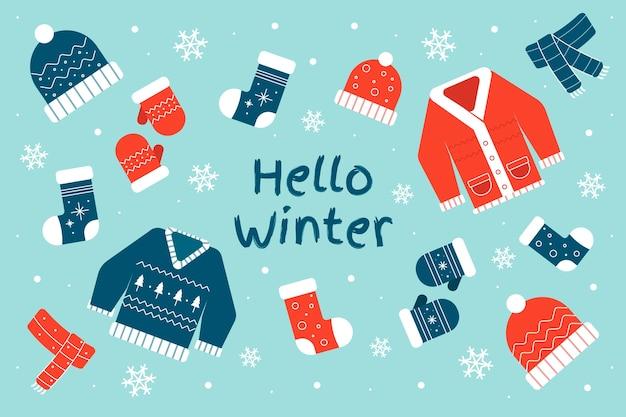 Winterconcept in plat ontwerp Gratis Vector