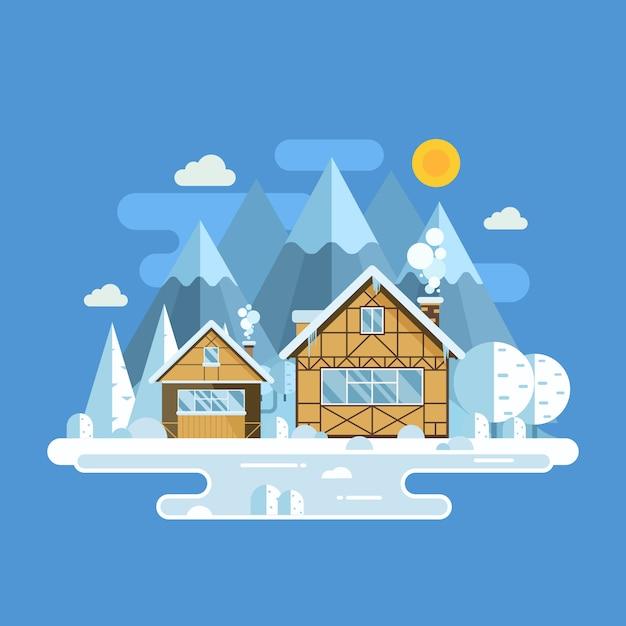Winterdorp landschap met besneeuwde huizen, bevroren meer en bergtoppen. Premium Vector