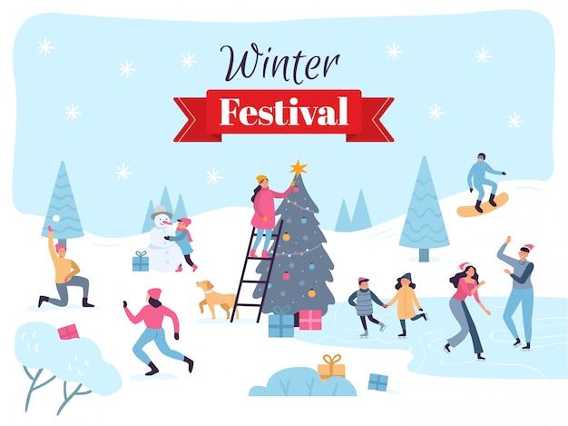 Winterfestival. december-vakantieviering, feestelijke kerstmisdecoratie en families leuke illustratie Premium Vector