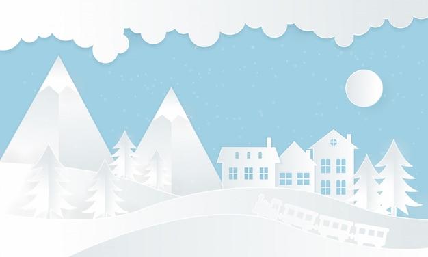 Winterillustraties met huizen en stoomtreinen Premium Vector