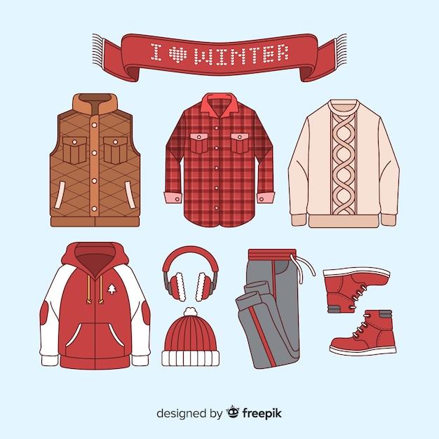 Winterkleding & benodigdheden Gratis Vector