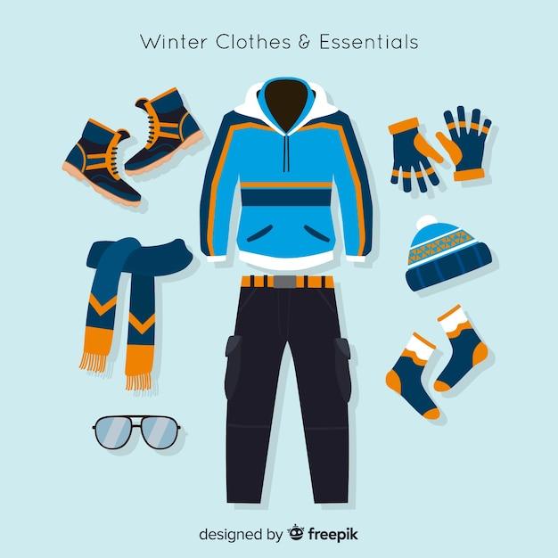 Winterkleren en essentials-collectie Gratis Vector