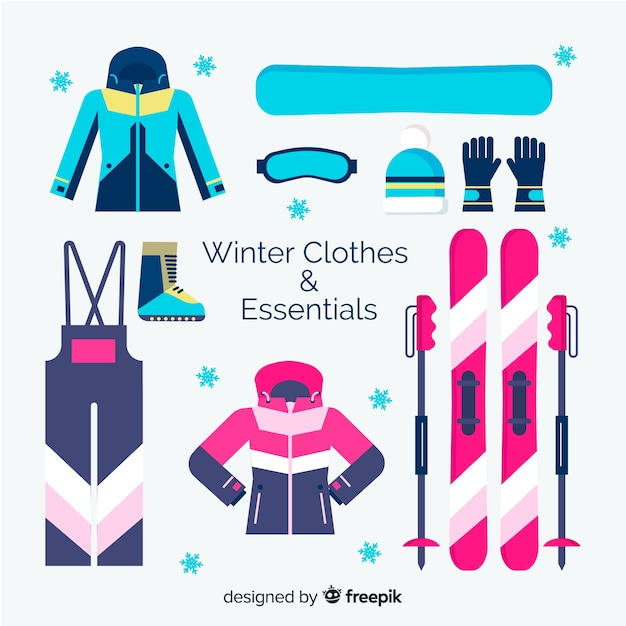 Winterkleren en essentials-collectie Gratis Vector