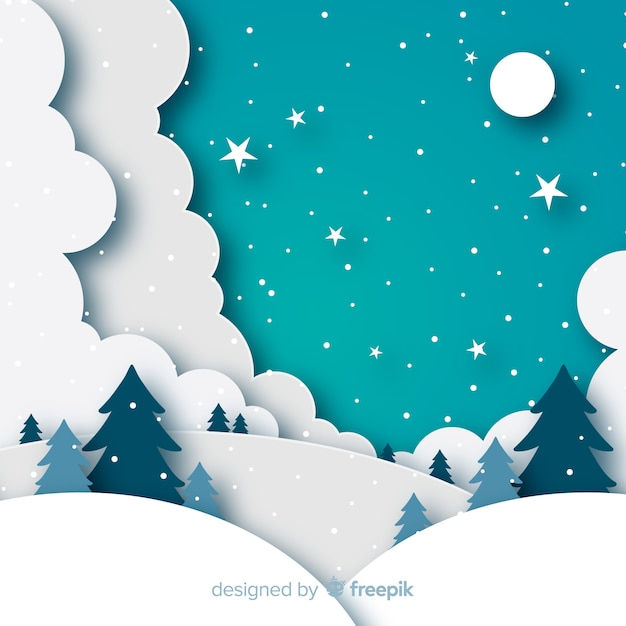 Winterlandschap achtergrond in papier stijl Gratis Vector