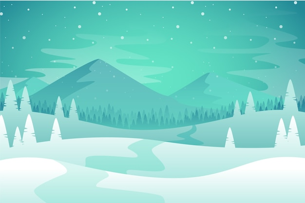 Winterlandschap concept in plat ontwerp Gratis Vector