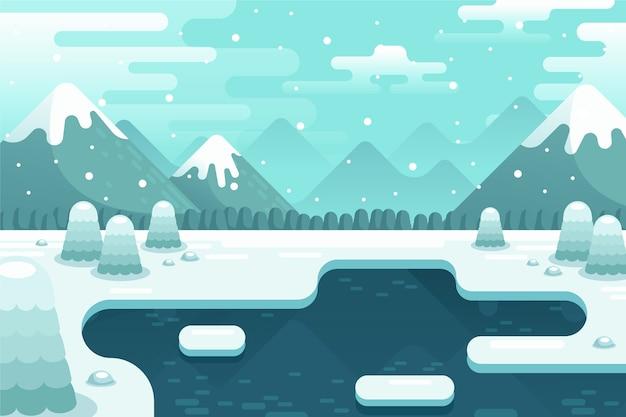 Winterlandschap concept in plat ontwerp Gratis Vector