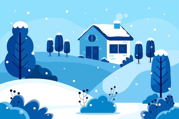Winterlandschap in plat ontwerp Gratis Vector