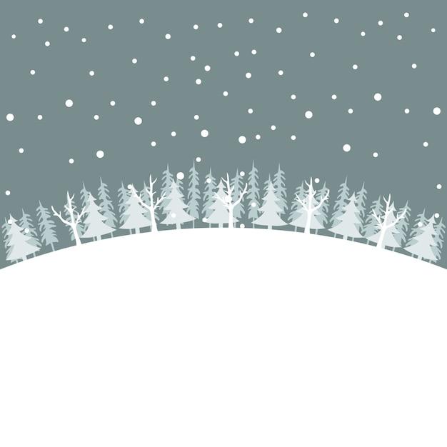 Winterlandschap kerstkaart met bomen in de sneeuw Premium Vector