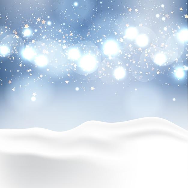 Winterlandschap met bokeh lichten Gratis Vector