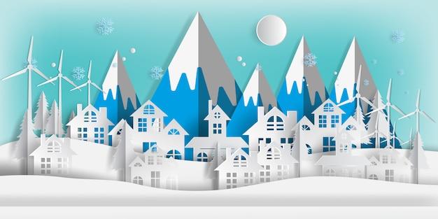 Winterlandschap met gebouwen in papier gesneden Premium Vector