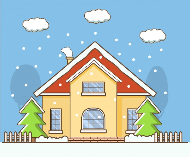 Winterlandschap met het land privé huis. Premium Vector