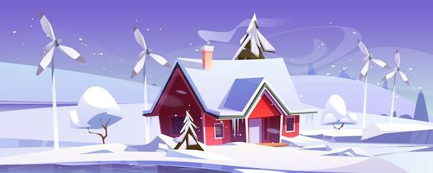 Winterlandschap met huis en windturbines. cartoon illustratie van sneeuwval, ijsbaan, windmolens en modern huisje met sneeuw op dak. eco-vriendelijke energieopwekking, groen energieconcept Gratis Vector