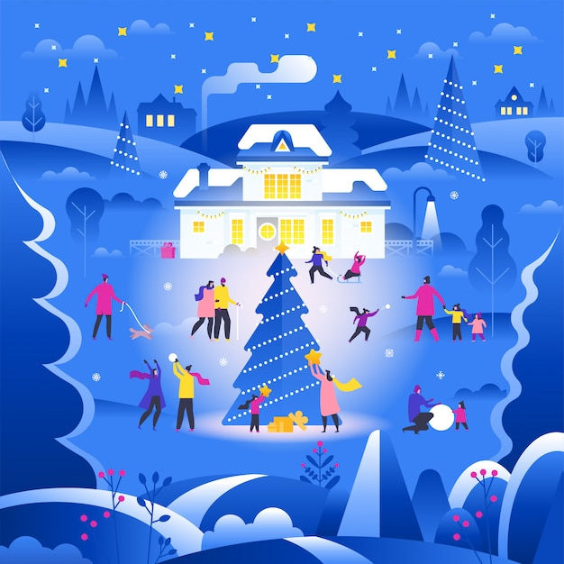 Winterlandschap met mensen die op straat in de voorsteden lopen en openluchtactiviteiten uitvoeren Premium Vector