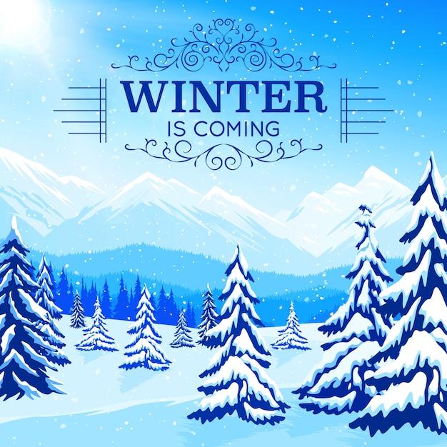 Winterlandschap poster met ingesneeuwde bomen en bergen in vlakke stijl Gratis Vector