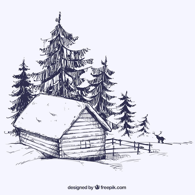 Winterlandschap schets met houten hut vector premium download - Houten hut ...