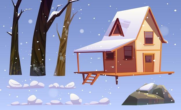 Winterlandschapselementen, houten huis, kale bomen, steen en sneeuwbanken Gratis Vector