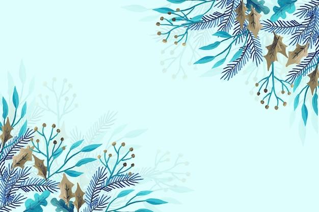 Winterplanten gemaakt met aquarellen Gratis Vector
