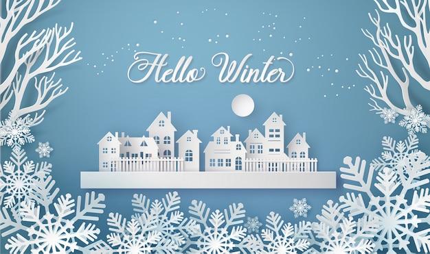Wintersneeuw stedelijk platteland landschap stadsdorp met volle maan Premium Vector