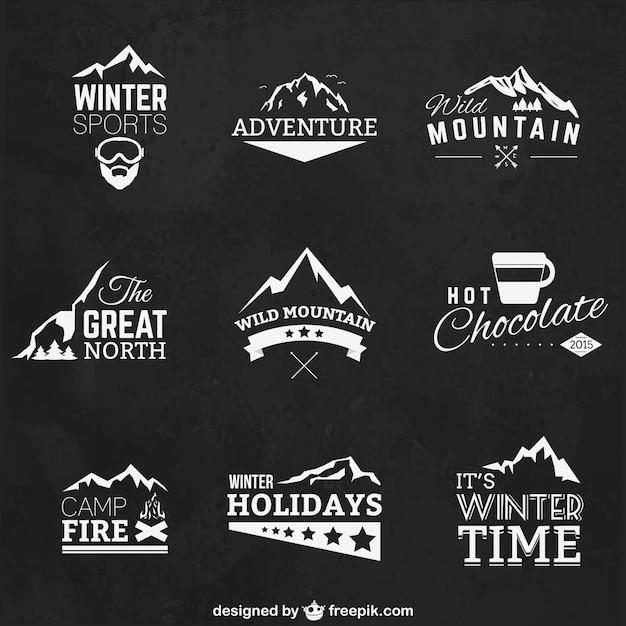 Wintersport badges Gratis Vector